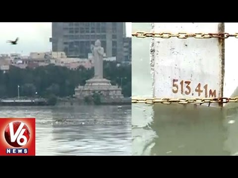 Hussain Sagar Water Level Increased With Inflow Due To Heavy Rains | Hyderabad | V6 News
