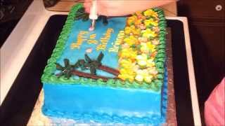 Decorating A Luau Hawaii Butter Cream Cake Idea