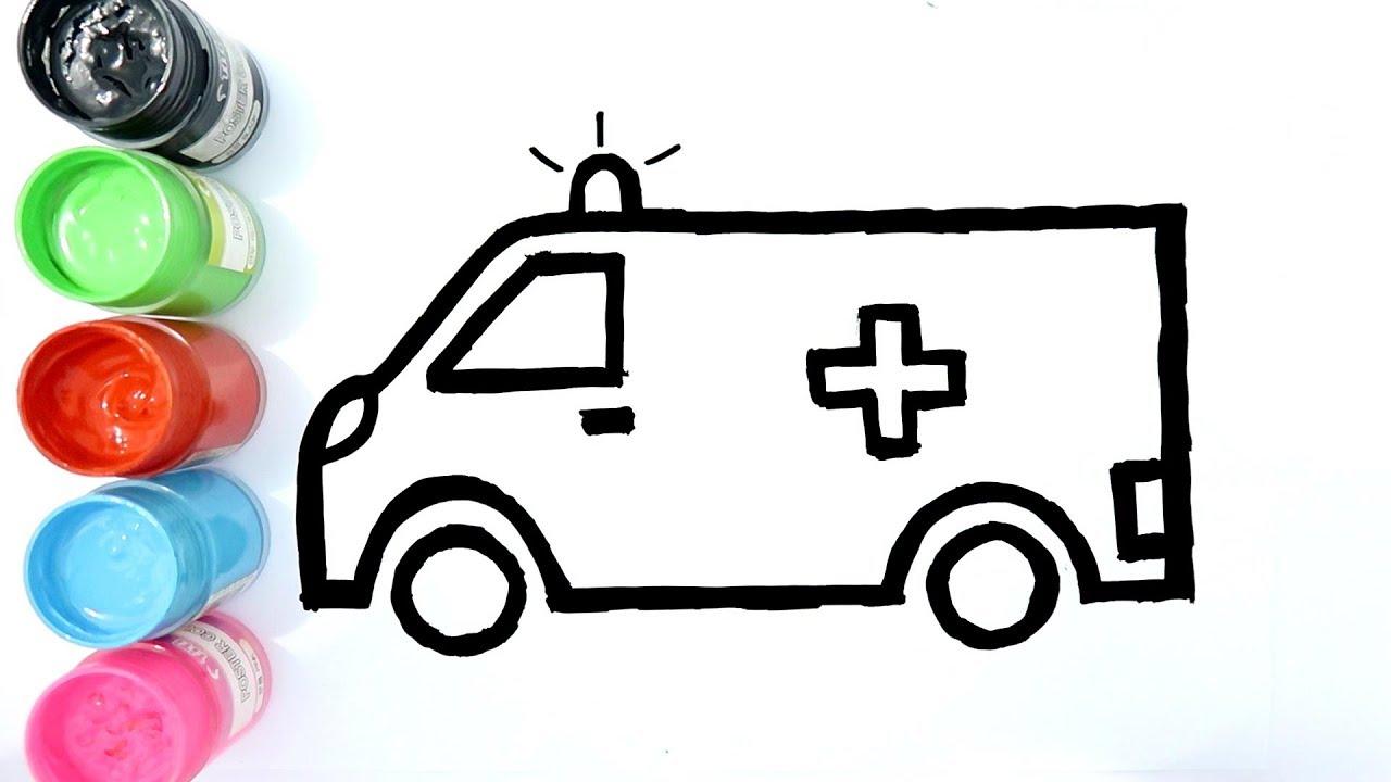 Cara Menggambar Dan Mewarnai Mobil Ambulance Dengan Cat Air