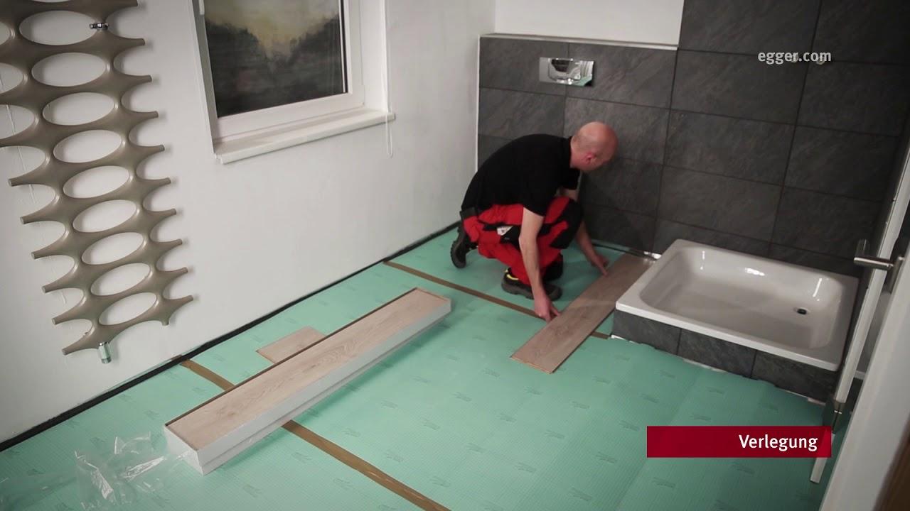 EGGER Aqua+ Laminatboden im Badezimmer verlegen - YouTube