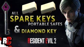 Resident Evil 2 | Finding Both SPARE KEYS & Diamond Key (All Portable Safe Locations)