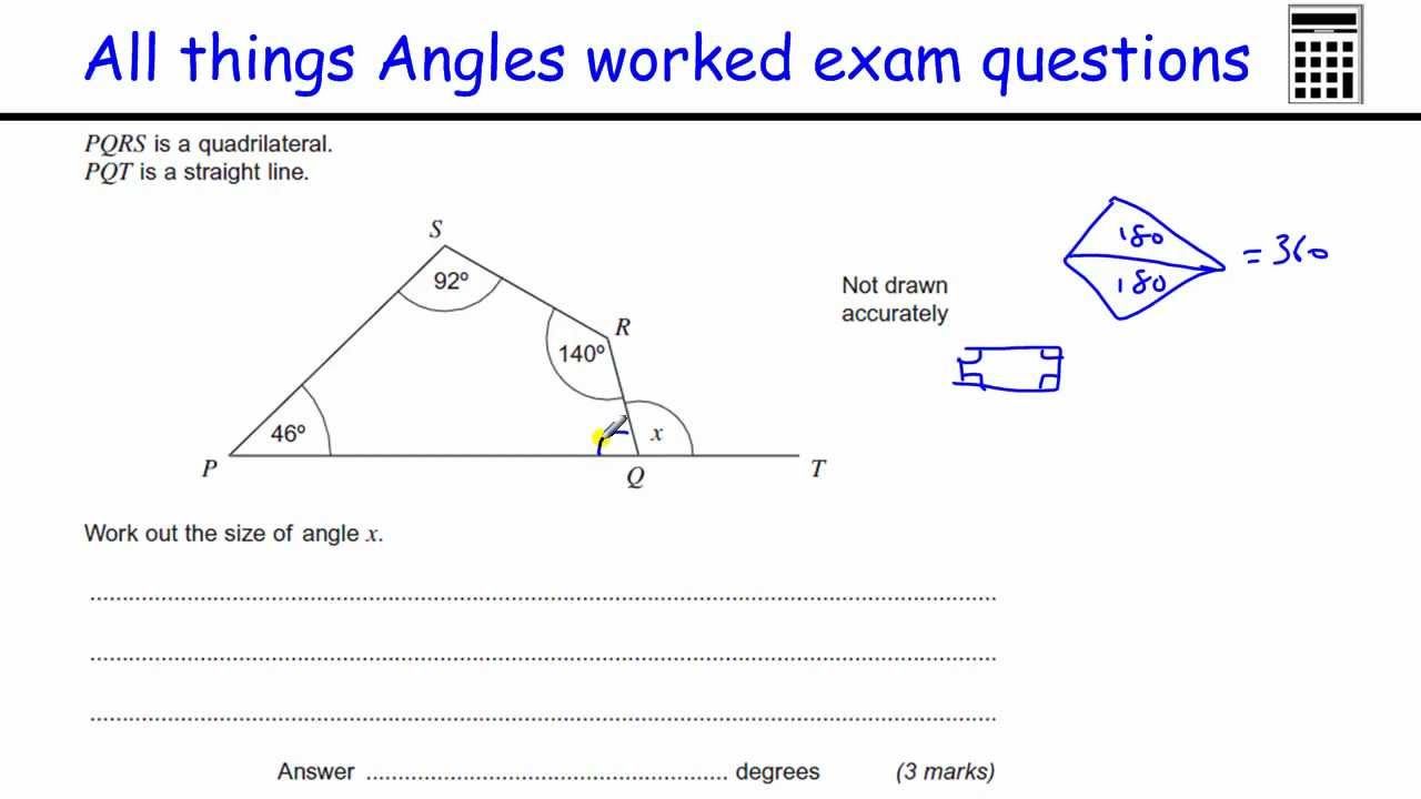 math worksheet : all things angles gcse maths foundation exam worked examples  : Gcse Maths Angles Worksheets