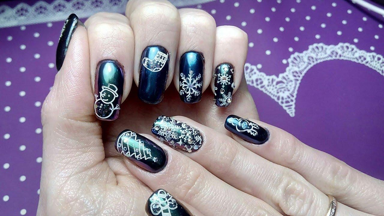 Новогодний дизайн ногтей! Стразы, снежинки, втирка хамелеон, стемпинг,  блестки!