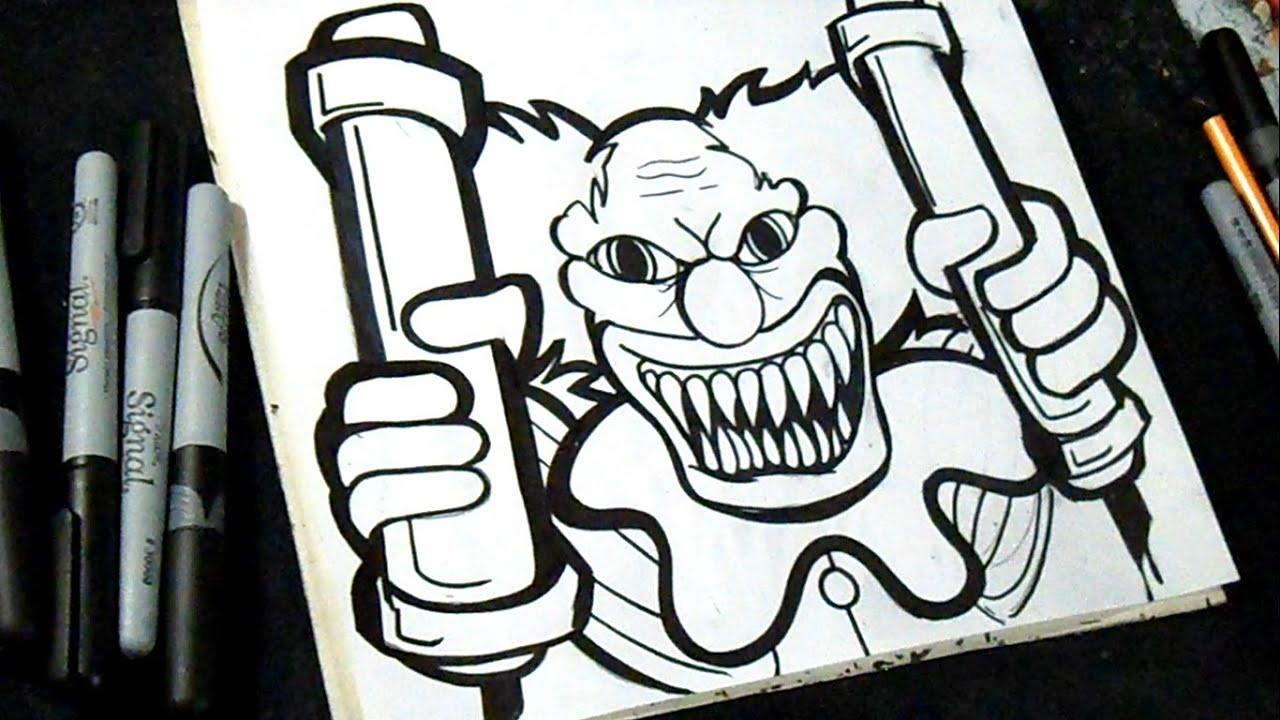 Comment dessiner un clown graffiti