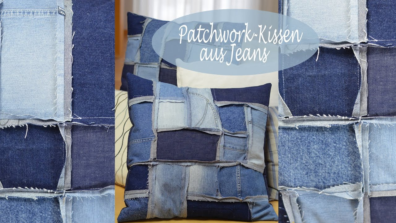 diy patchwork kissenh lle aus jeans n hen deko f r terrasse kinder oder jugendzimmer youtube. Black Bedroom Furniture Sets. Home Design Ideas