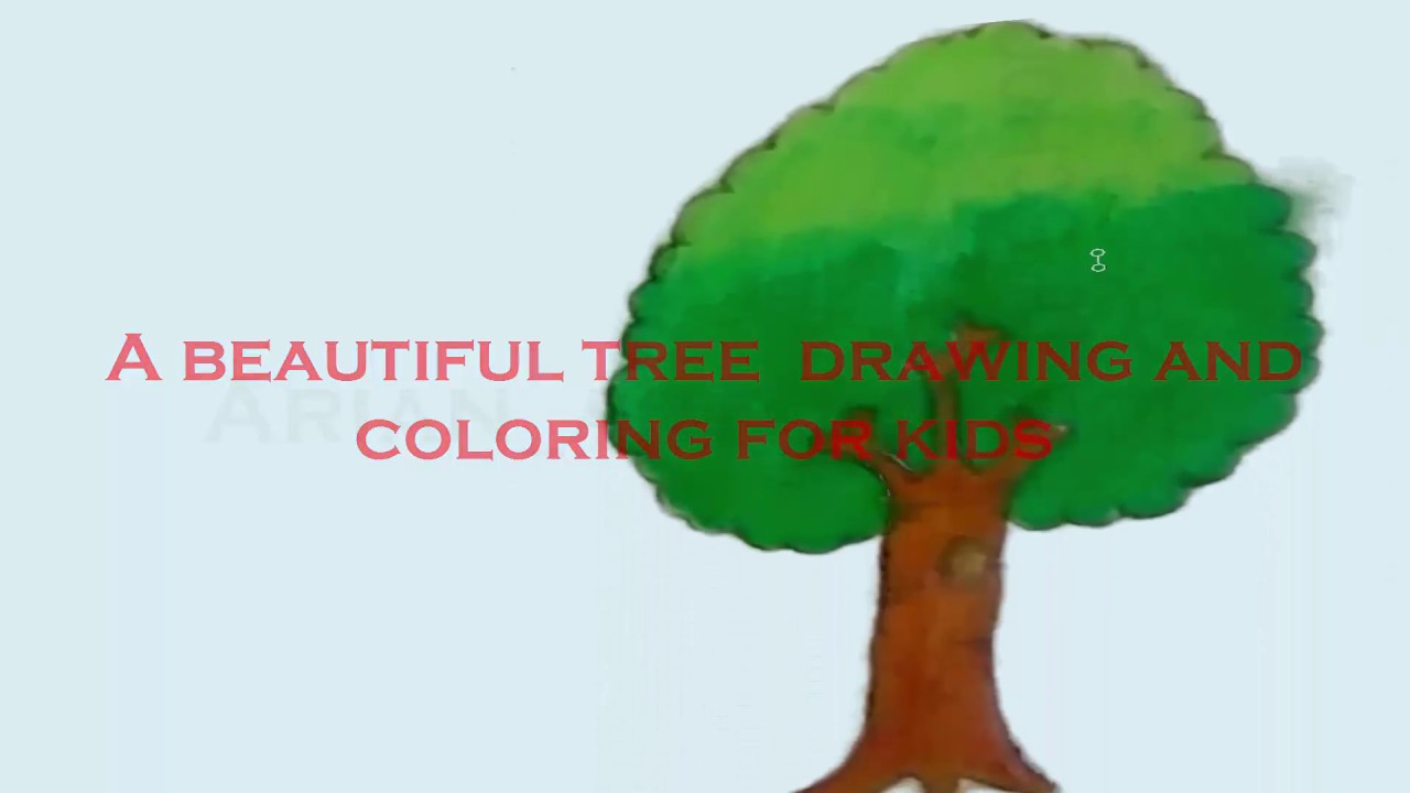 Tree drawing and coloring for kids. tree draw and color hd video for ...