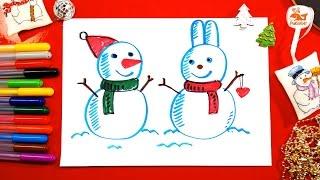 Два СНЕГОВИКА на Новый год / Урок рисования для детей фломастерами