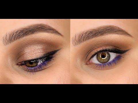 Дневной макияж и синим акцентом. thumbnail