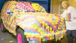車が10000枚のメモ用紙だらけだと人はどんな顔する?【ドッキリ】