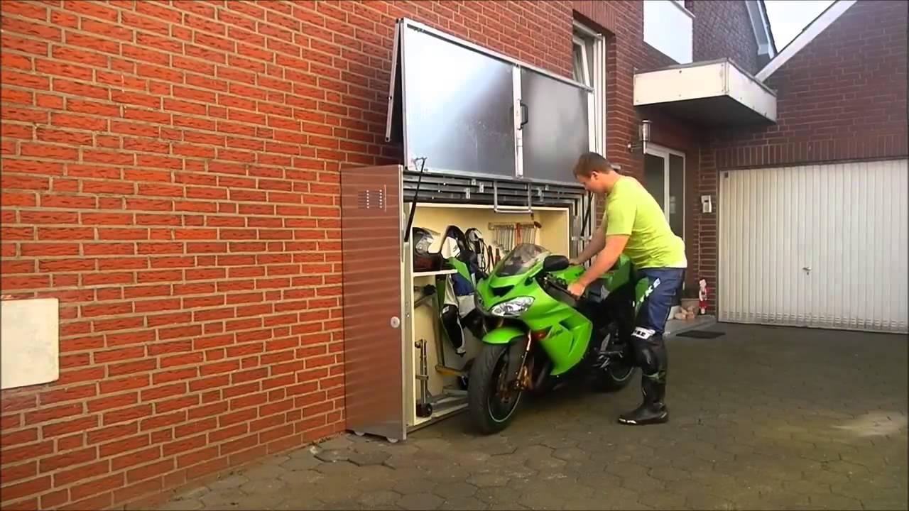 Motor cycle 39 s folding garage youtube for Garage mini pontoise