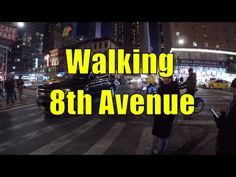 ⁴ᴷ Walking Tour of 8th Avenue, NYC from 23rd Street to 59th Street, Columbus Circle at Night