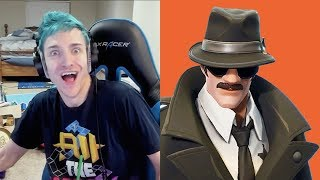 Ninja Reacts To New Detective Skins, Car Glider & Magnifying Axe In Fortnite