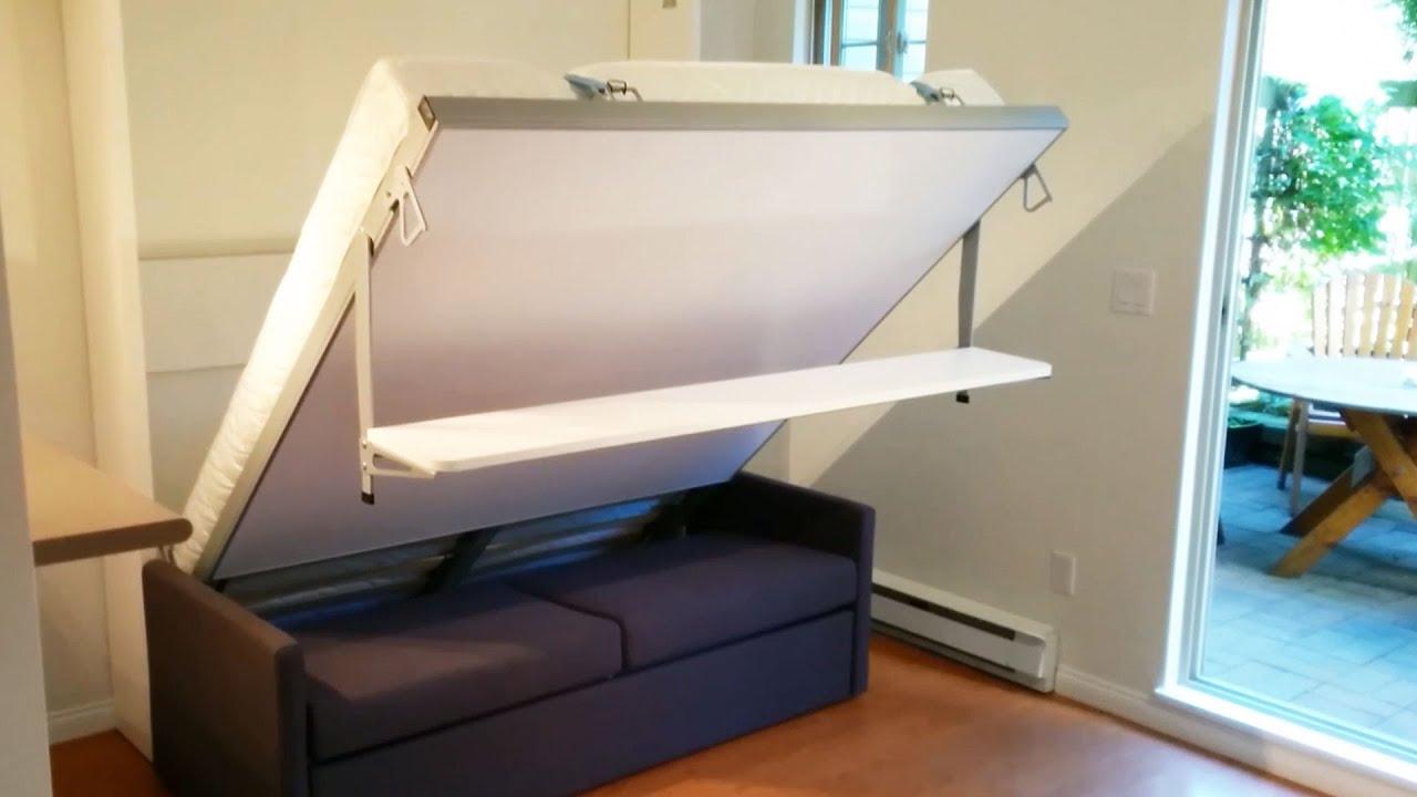 Italian Murphy Bed Sofa with Floating Shelf - YouTube