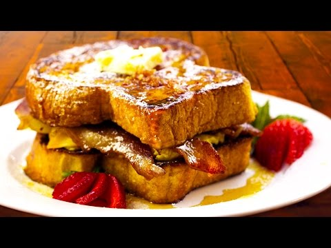 Ultimate French Toast Breakfast Sandwich Recipe - with How-to Make BACON SYRUP! - Chef Tony
