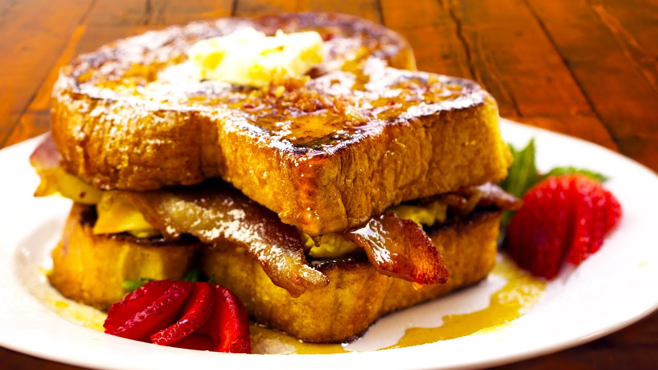 Ultimate French Toast Breakfast Sandwich Recipe  With Howto Make Bacon  Syrup!  Chef Tony  Youtube