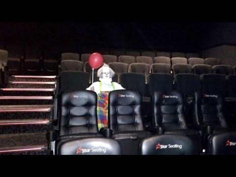 Clown Dressed as Pennywise Sits Alone in Movie Theater Before Showing of 'It'