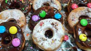 chocolate doughnuts, डनट कस बनत ह,donut without egg and oven, easy recipe