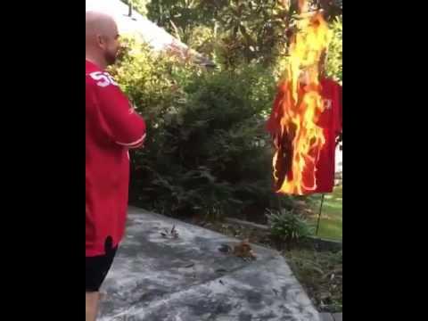 46ac444f5 San Francisco 49ers fan burns Colin Kaepernick Jersey Over National Anthem  Protest