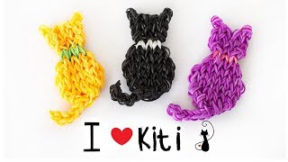 КОШКА ФРЕСКА из резинок на станке | Cats Rainbow loom Bands Charm