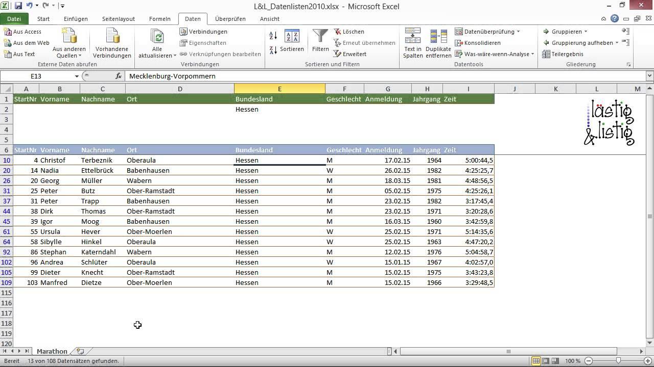 Excel 2010: Datenanalyse Tutorial: Einfache Kriterien definieren ...