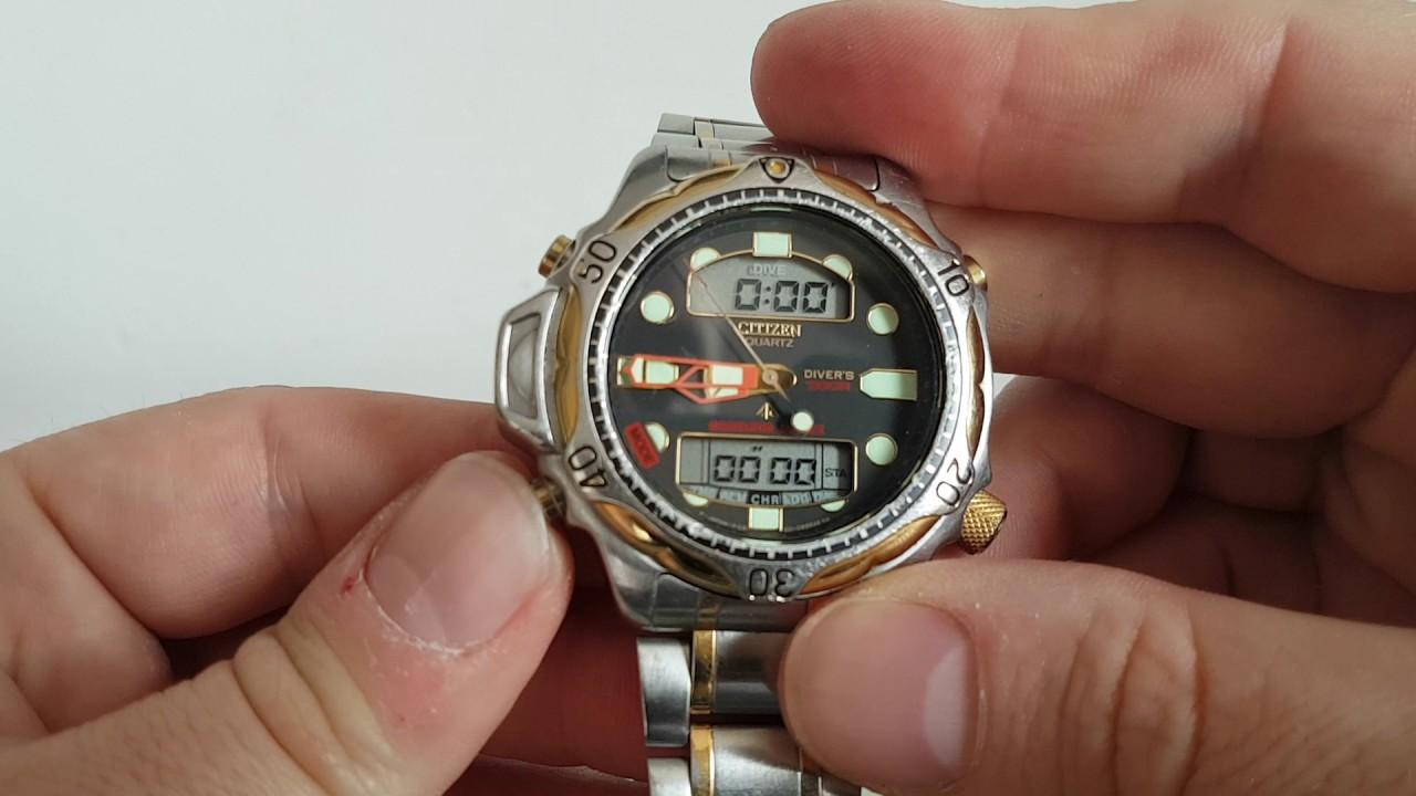 1996 Citizen Aqualand Duplex Divers Watch 200m Youtube