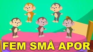 Repeat youtube video Barnsånger på svenska | Fem små apor hoppade i sängen med mera
