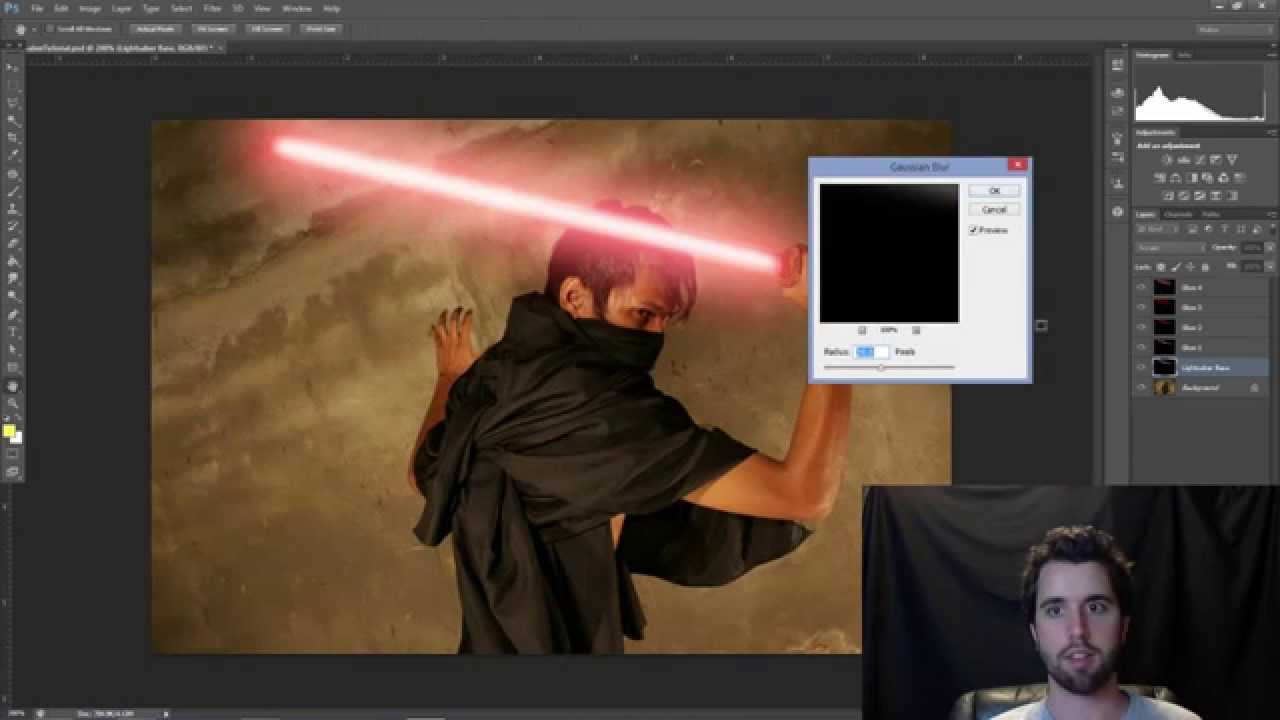 Photoshop tutorial lightsaber effect youtube baditri Images