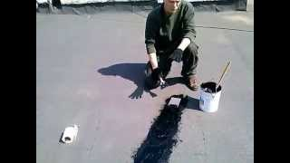 Заделка трещин в кровельном полотне мягкой крыши.(, 2015-05-16T22:02:46.000Z)