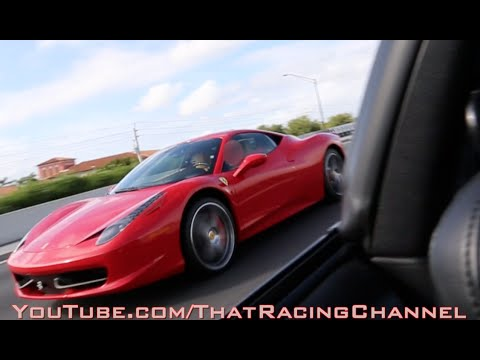 Ferrari 458 challenges Turbo Supra on the highway!