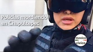 Arne aus den Ruthen   Policías azules mordiendo en Chapultepec