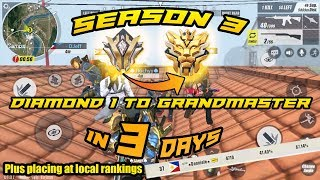 Season 3 Grind to Grandmaster in 3 days Plus Placing top 50?(NATIONAL) | ROS | Mobile Gameplay