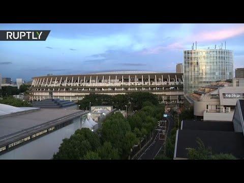 View over Tokyo Olympic Stadium as Olympics kicks off