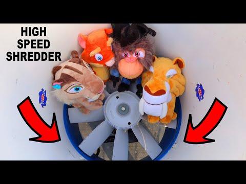 FAST SHREDDER VS PLUSH ICE AGE 2 PIRATES (SHREDDER EXPLODES!)