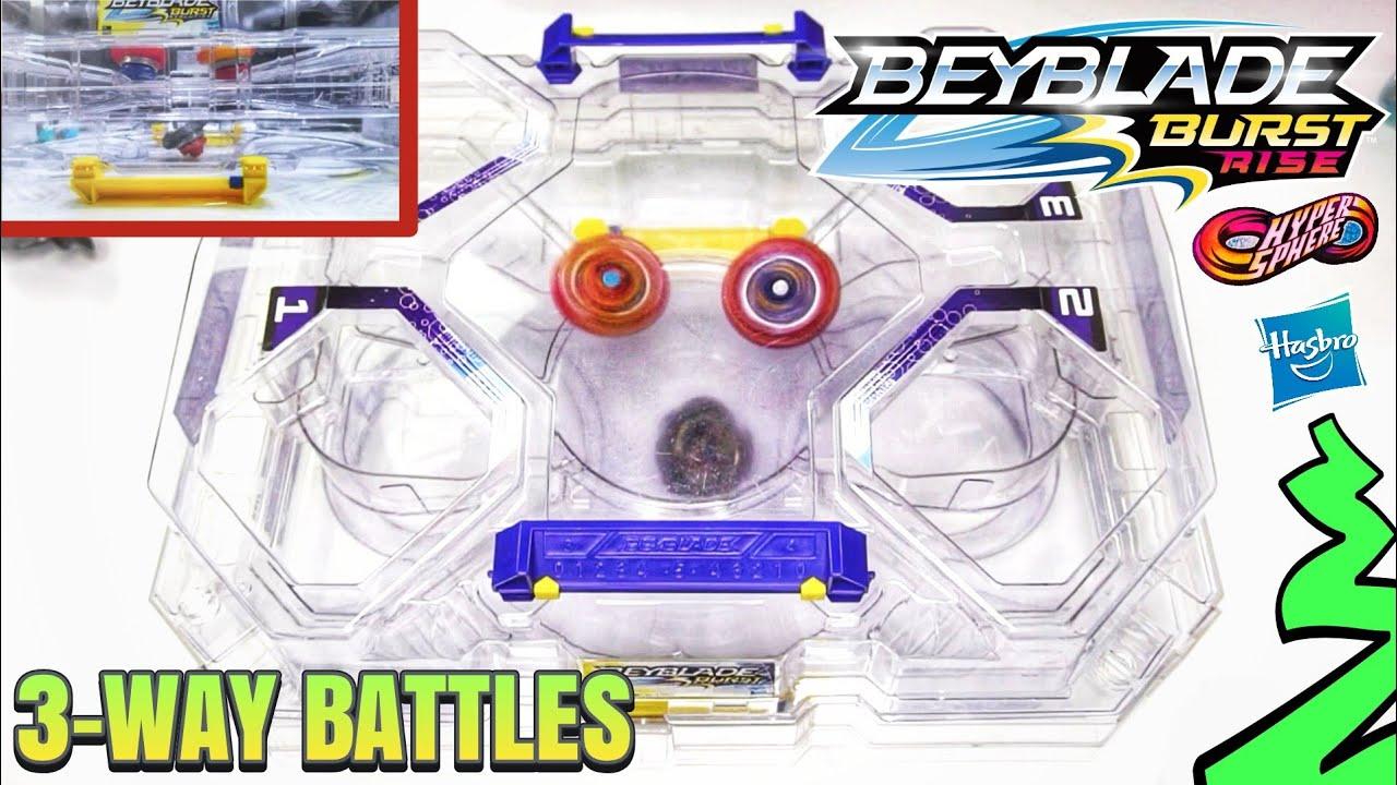 3-WAY Beyblade Burst Rise Hypersphere Battles in Hasbro's 2 Level Battle Tower Stadium!