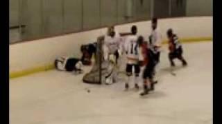Hockey Hit wearing a Messier helmet