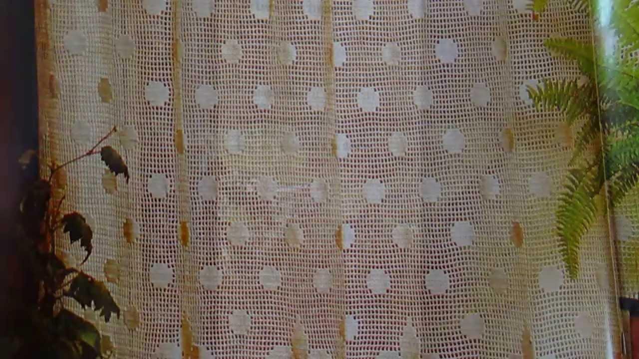 Como tejer elegante cortina con lunares y lirios a crochet for Cortinas de gancho para cocina