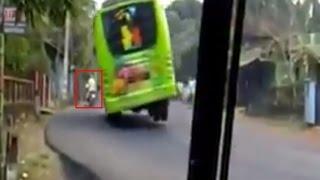 SANGAR supir ugal ugalan bis hampir guling dan nabrak motor