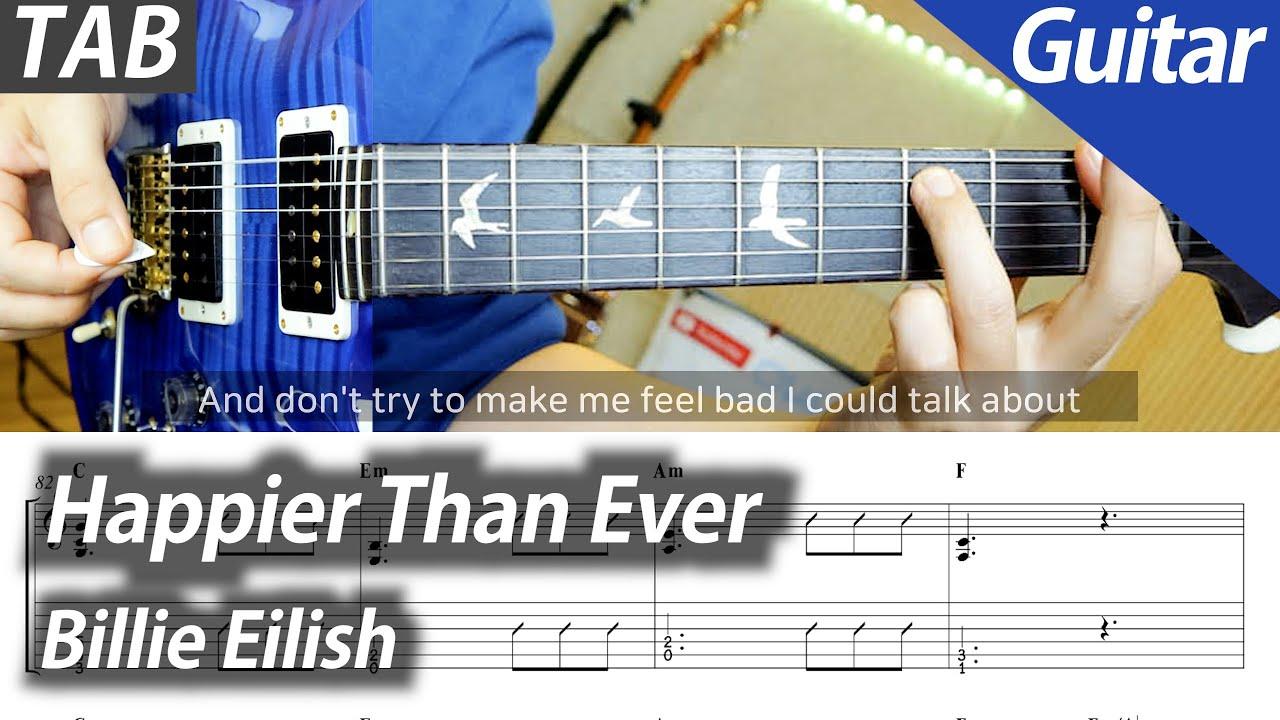 Billie Eilish - Happier Than Ever | 기타 커버 타브 악보 코드 노래방 MR Inst