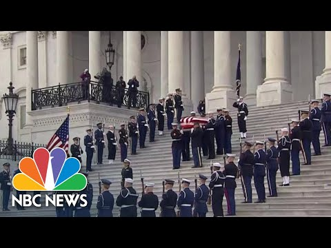 Former President George H.W. Bushs Casket Departs The U.S. Capitol | NBC News