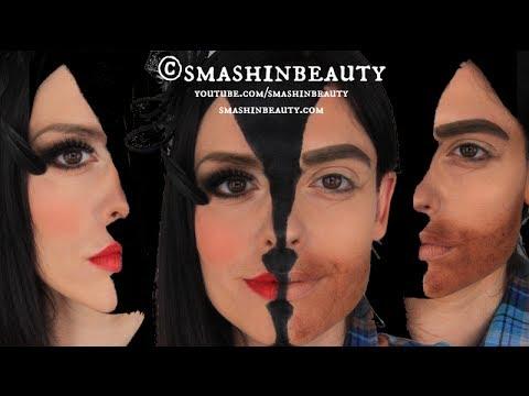 Two Faces Halloween Makeup Tutorial SMASHINBEAUTY - YouTube