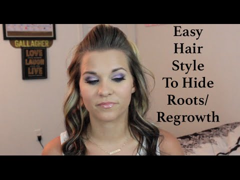 easy hairstyle to hide regrowth roots   youtube