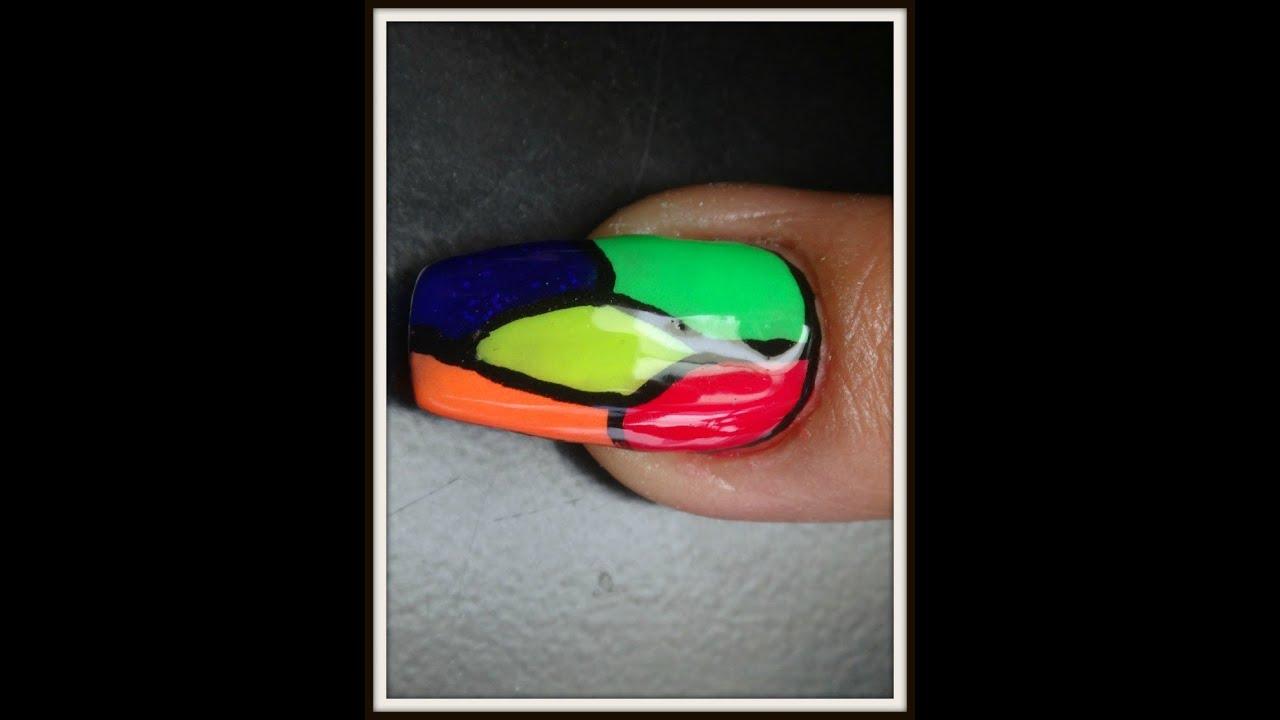uñas con acrílicos de colores - YouTube
