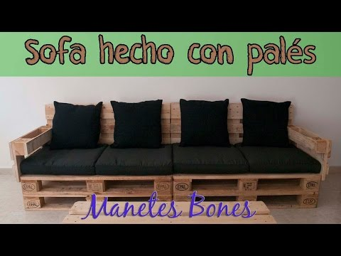 Pallets Couch Sofa Hecho Con Pales Bricolaje Youtube - Sofa-de-palets