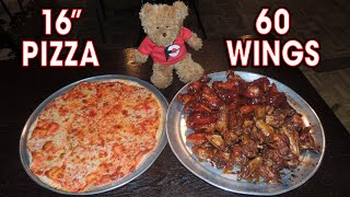 60 Chicken Wings Challenge w/ Large Pizza!!