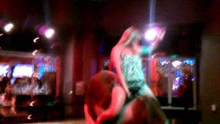 Boob falls out riding mechanical bull in Vegas