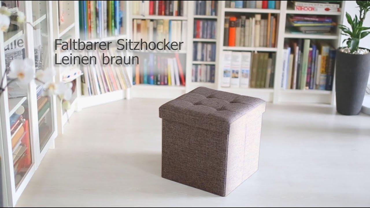 Faltbarer sitzhocker aus leinen mit stauraum youtube