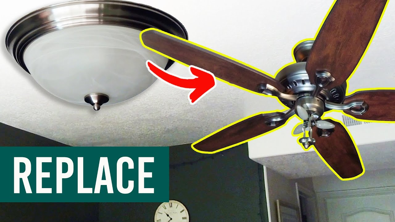 How To Replace A Light With A Ceiling Fan Install A Ceiling Fan Step By Step Youtube