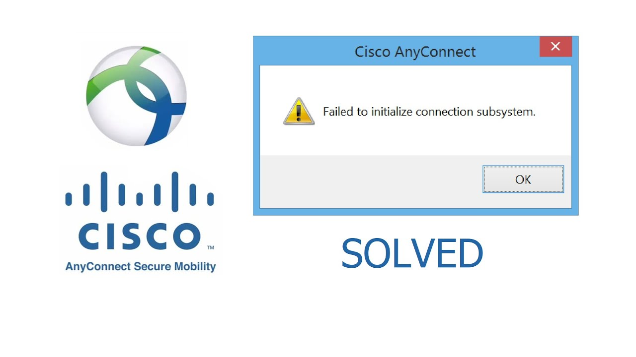 Cisco, AnyConnect, SOLVED, Failed to initialize connection subsystem