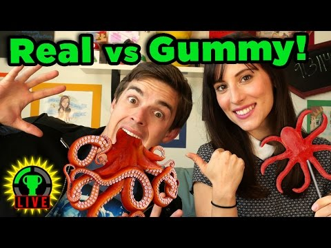 GTLive: TRYING NOT TO PUKE! | Gummy Food vs. Real Food Challenge - GTLive - Gummy Food vs. Real Food Challenge