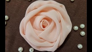 DIY chiffon rose,fabric rose tutorial,how to make  English